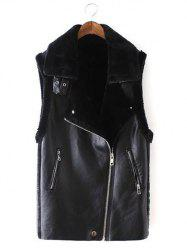Slim Oblique Zipper Faux Leather Waistcoat - BLACK L