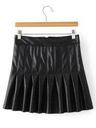Mini Pleated Faux Leather Skirt - BLACK L