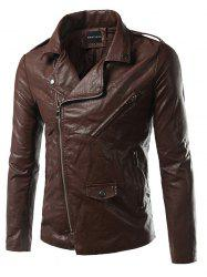 Pocket Side Zip Up Epaulet Design Faux Leather Jacket