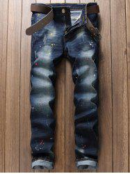 Scratched Pocket Rivet Paint Splatter Jeans