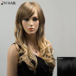 Siv Colormix Long Oblique Bang Wavy Fluffy Human Hair Wig - JET BLACK 01#
