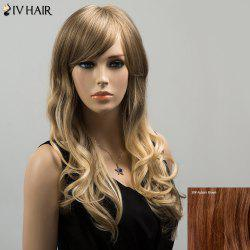 Siv Colormix Long Oblique Bang Wavy Fluffy Human Hair Wig - AUBURN BROWN #30