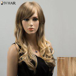 Siv Colormix Long Oblique Bang Wavy Fluffy Human Hair Wig - BLONDE
