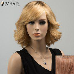 Siv Medium Oblique Bang Tail Upwards Straight Human Hair Wig