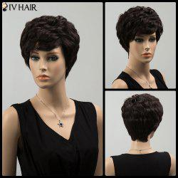 Siv Short Layered Curly Side Bang Human Hair Wig - BLACK