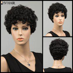 Siv Shaggy Short Curly Neat Bang Human Hair Wig - JET BLACK 01#