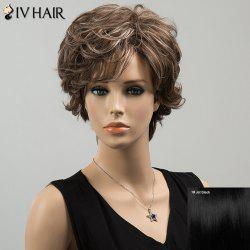 Siv Highlight Short Oblique Bang Wavy Fluffy Human Hair Wig - JET BLACK 01#
