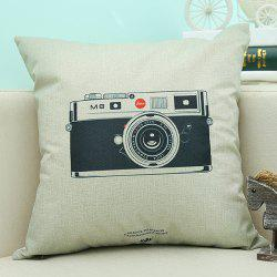 Camera Pattern Sofa Cushion Linen Pillow Case