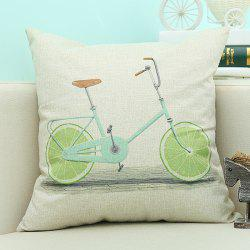 Lemon Bike Pattern Sofa Cushion Linen Pillow Case - BEIGE
