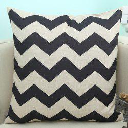 Wavy Design Sofa Cushion Linen Pillow Case - BLACK