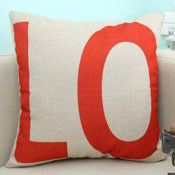 LO Letter Love Sofa Cushion Linen Pillow Case - BEIGE