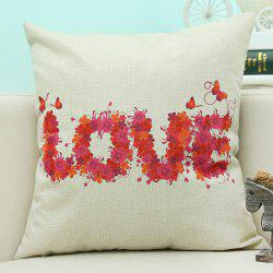 Love Letter Printed Sofa Cushion Linen Pillow Case - BEIGE