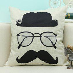 Cartoon Glasses Printed Sofa Cushion Linen Pillow Case