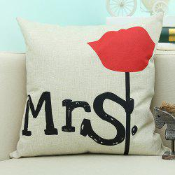 Letter Floral Printed Sofa Cushion Linen Pillow Case -