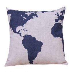 Color Block Printed Sofa Cushion Linen Pillow Case - BLUE AND WHITE