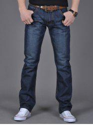 Zipper Fly Flap Pocket Straight Leg Jeans - DENIM BLUE 38
