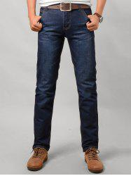 Zipper Fly Low Waist Jeans in Taper Fit - DENIM BLUE