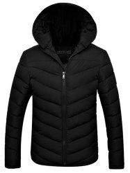 Slim Fit Zipper Up Quilted Hooded Jacket - BLACK 3XL