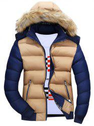 Color Block Quilted Jacket with Fur Trim Hood - KHAKI L