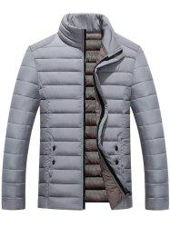 Button Embellished Zip Up Quilted Jacket - GRAY 5XL