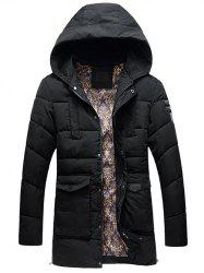 PU Patch Flap Pocket Hooded Padded Coat -