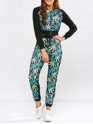 Leaf Print Running Jacket and Drawstring Jogger Pants -