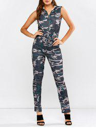 Hoodie Camouflage Pattern Zip Up Jumpsuit