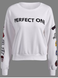 Perfect One Graphic Patch Design Sweatshirt -