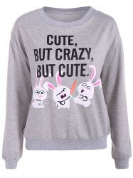 Letter Print Rabbit Graphic Sweatshirt - GRAY L