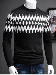Plus Size Color Block Geometric Spliced Long Sleeve Sweater