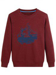 3D Bridge Printed Crew Neck Sweatshirt - DEEP RED 4XL