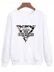 Floral Inverted Triangle Printed Pullover Sweatshirt -