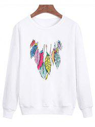 Feather Printing Crew Neck Sweatshirt - WHITE 4XL