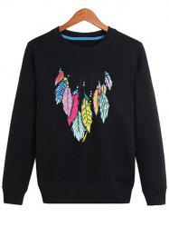Feather Printing Crew Neck Sweatshirt