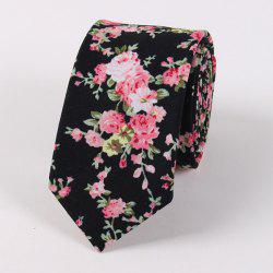 Vintage Floral Printed Cotton Neck Tie - BLACK