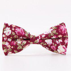 Vintage Little Floral Print Bow Tie - WINE RED