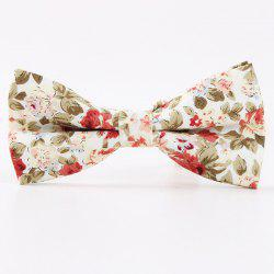 Vintage Little Floral Print Bow Tie - WHITE