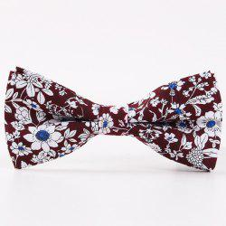 Bridegroom Floral Shivering Printed Bow Tie - DARK RED