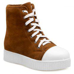 Lace Casual Bottes Up Platform Suede -