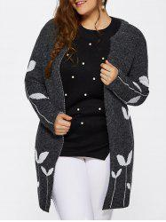 Collarless Leaf Pattern Cute Plus Size Cardigan - DEEP GRAY