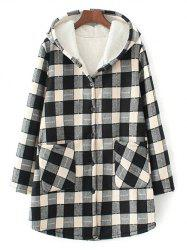 Hooded Checked Borg Lined Coat - WHITE AND BLACK 3XL