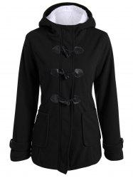 Zip Up Fleece Hooded Duffle Coat - BLACK