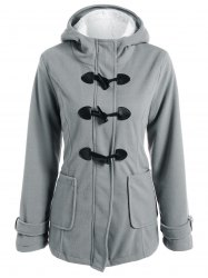 Zip Up Fleece Hooded Duffle Coat -