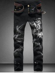 Zip Fly Straight Leg Graphic Jeans