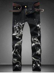 Zipper Fly Straight Wolf Graphic Jeans - BLACK 36