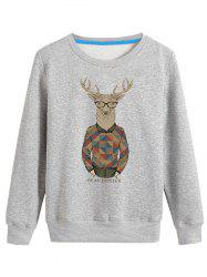 Cartoon Elk Print Crew Neck Long Sleeve Sweatshirt - GRAY 4XL