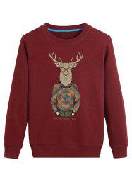 Cartoon Elk Print Crew Neck Long Sleeve Sweatshirt