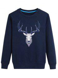 Elk Print Crew Neck Long Sleeve Sweatshirt -