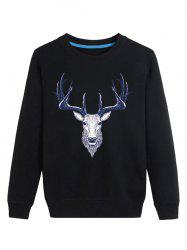 Elk Print Crew Neck Long Sleeve Sweatshirt