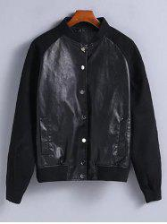 Suede Sleeves PU Leather Bomber Jacket -